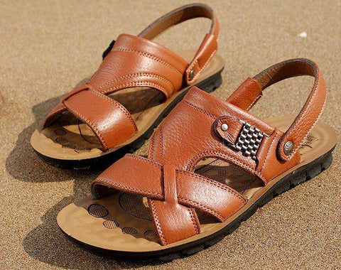 Genuine Leather Men Casual Brown Suede Sandals