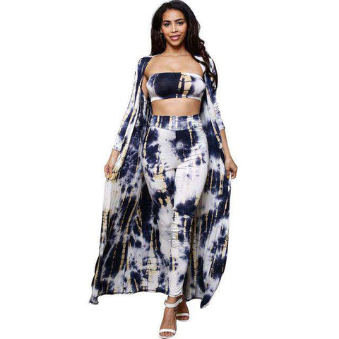 Gradient Print  3 Pieces Strapless Jumpsuit High Waist Dress