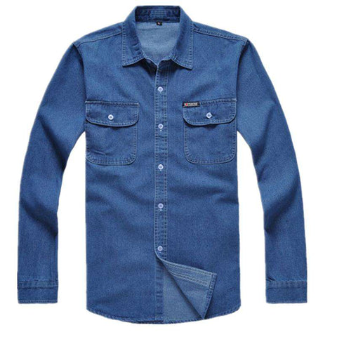 Loose Cotton Long-Sleeve Denim Shirt