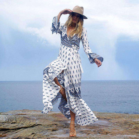 Bohemian Long Sleeve Hippie Chic Maxi Vacation Dress White