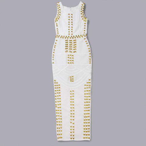 Beading Tight Celebrity Cocktail Party Bandage Dress White