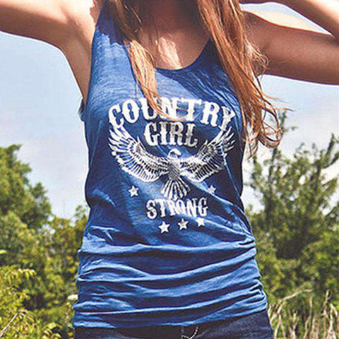Country Girl Strong Eagle Letters Print Crewneck Tank Top Blue