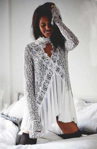 Lace Irregular Long Sleeve V Neck Bohemian Mini Dress