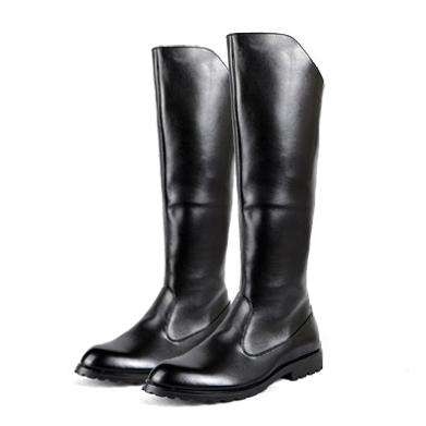 Men's Round Toe Knee High Riding Boots Black