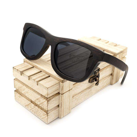 Men Wooden Gray Polarized Lens Unisex Sunglasses With Wooden Box