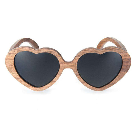 Unique Heart Shape Wooden Sunglasses Polarized Lens With Box Unisex