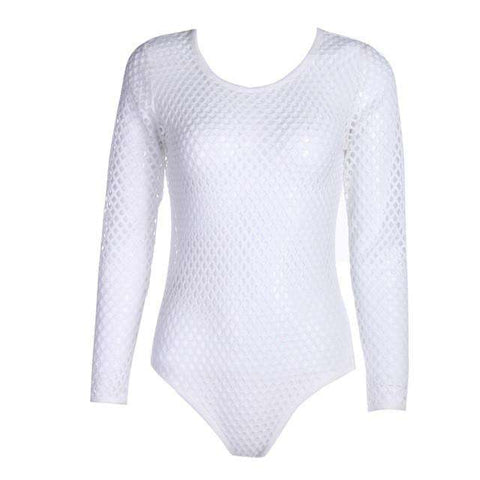 Mesh White Long Sleeve Hollow Out Swimsuit One-Piece