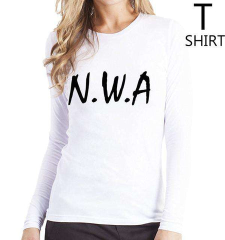 Funny NWA Letter Print T-shirt For Women Pink