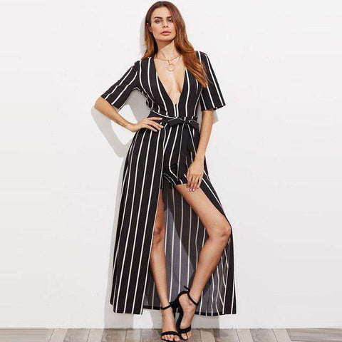 Striped Maxi Deep V Neck Belted Romper Sundress Black&White