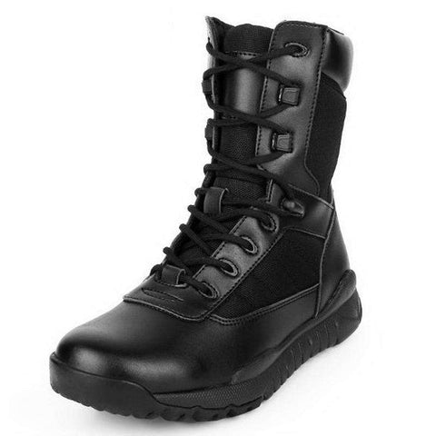 Men's Genuine Leather Military Mid-Calf Martin Boots