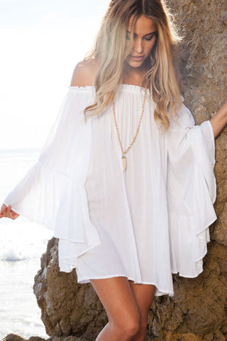 Summer Beach Style Dress Off The Long Sleeve Chiffon Mini Dress White
