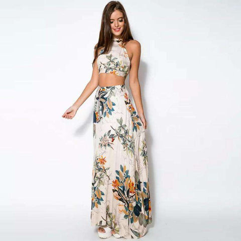 Package Hip Boho Cross Backless Halterneck Floral Print Two Piece Maxi Dress