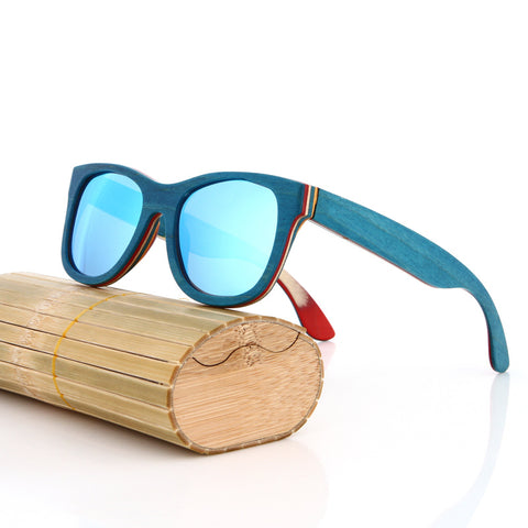 Wooden Rectangle Frame Anti Reflective Polarized Lens Sunglasses Unisex