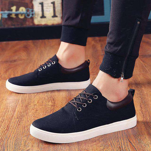 Men's Plimsolls Canvas Shoes Loafers Low Upper Walking Lace Up