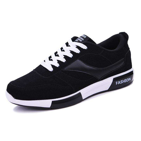 Men's Breathable Skateboarding Stitching Training  Athletic Sneakers Black