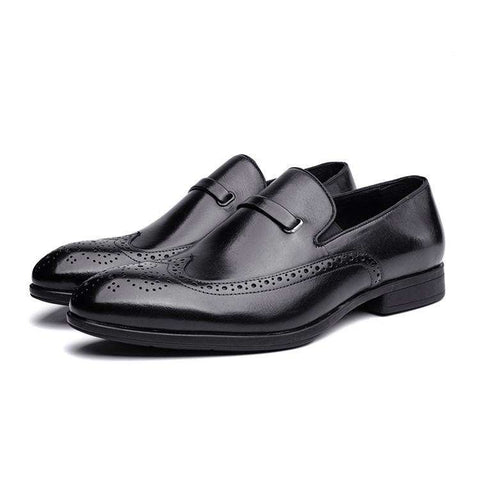 Men's Genuine Leather Round Toe Formal Dress Shoes Black