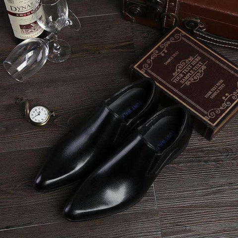 Men's Slip On Point Toe Genuine Leather Formal Dress Shoes Brown