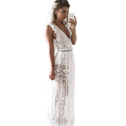 Hollow Out Lace Sleeveless Party Dress White