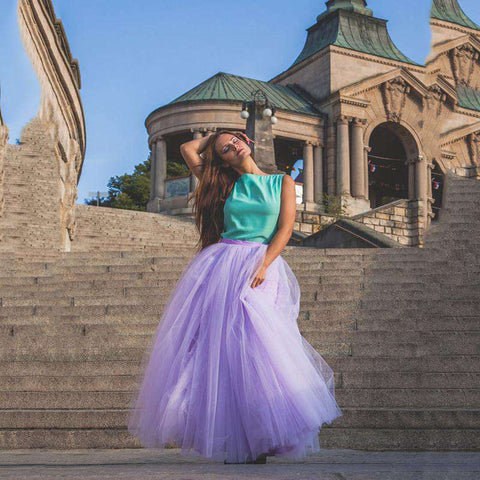 7 Layers Tulle Ball Gown Elastic Waist Pleated Fluffy Tutu Skirt Blue