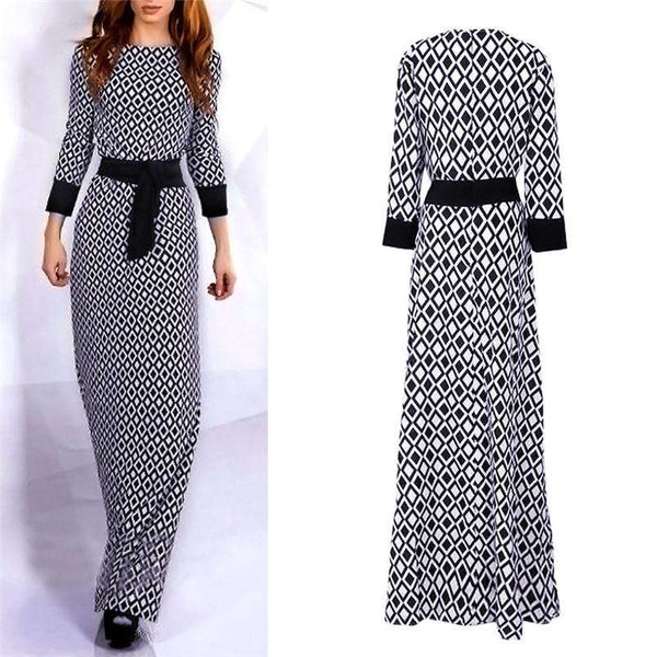 3/4 Sleeve Round Neck Slim Cocktail Party Long Dress Black & White