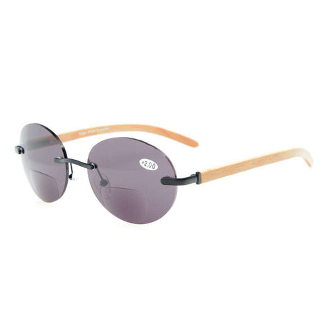 Eyekepper Spring Hinges Wood Arms Rimless Round Bifocal Sunglasses Unisex