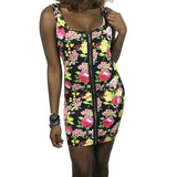 Vintage Floral Print Square Collar Sleeveless Bodycon Dress