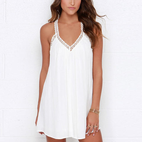 Spaghetti Strap V-neck Sleeveless Backless Party Beach Mini Dress White