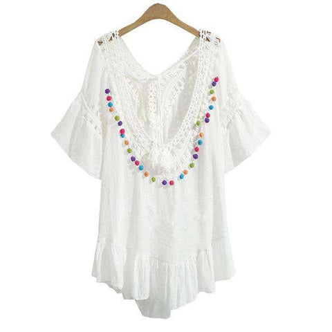 Boho Backless Crochet Ruffles Lace-up V-Neck Tassel Dress White
