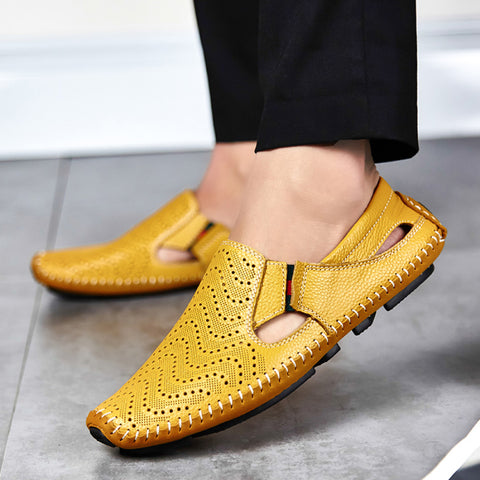 Men's Casual Leather Sandals Mustard