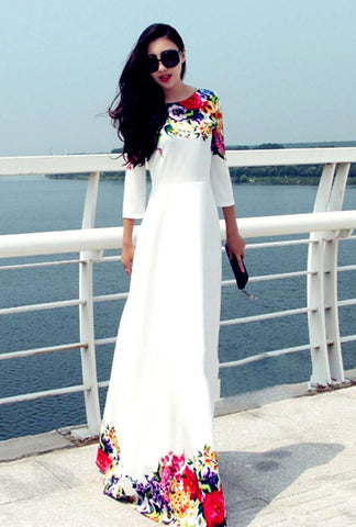 Floral Print Casual Round Neck Maxi Dress White