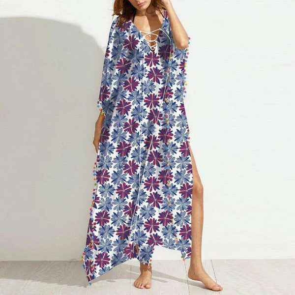 Lace-up Deep V-Neck Batwing Sleeve Split Maxi Dress