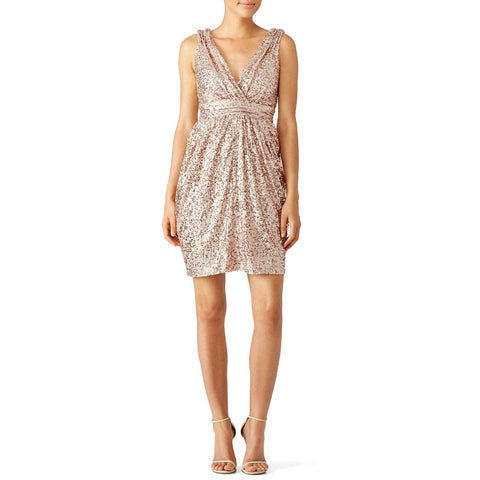 Low V Ruched Waist Flash Sequin Beads Gold Party Dress
