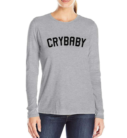 Cry Baby Letters Print T-Shirts Women Long sleeve O -Neck Grey