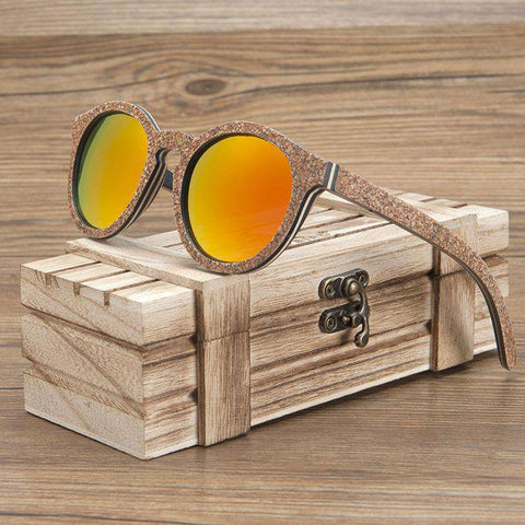 Men Handmade Cat Eye Polarized Wooden Frame Sunglasses