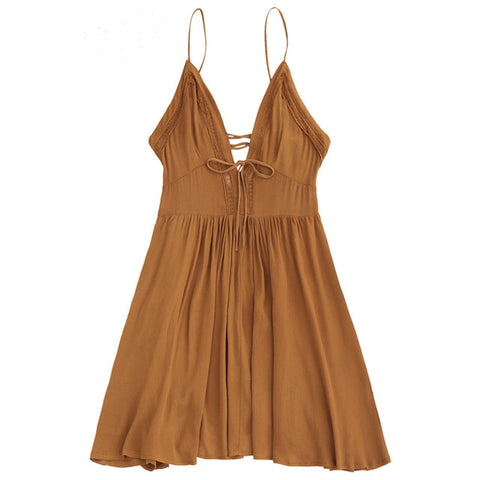 Sleeveless Deep V Neck Spaghetti Strap Lace Up Dress