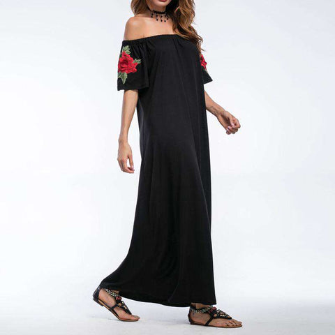 Off Shoulder Crochet Embroidered Short Sleeve Maxi Dress Black