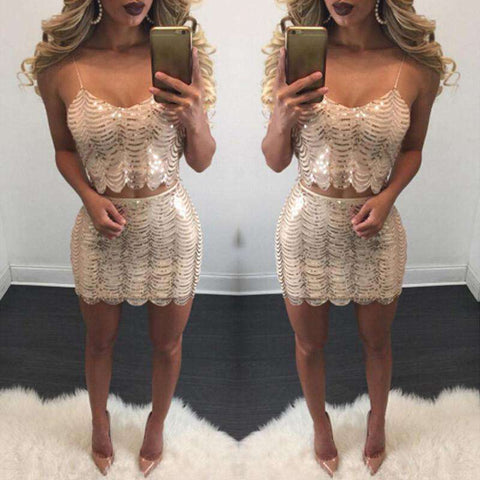 Sequin Patchwork Two Piece Bodycon Sling Backless Mini Dress Silver