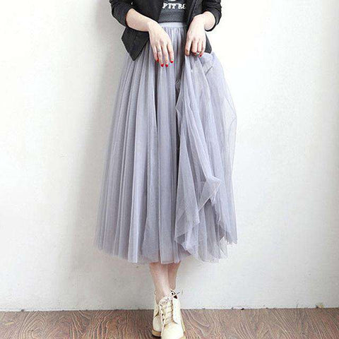 4 Layers Tulle Elastic High Waist Long Mesh Tutu Pleated Skirt Grey