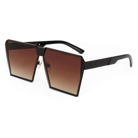 Metal Unique Sunglasses Square Frame Wooden Sides For Women