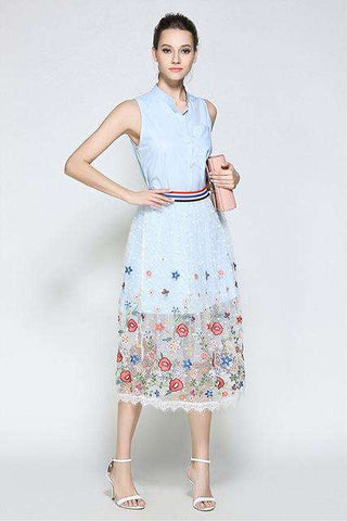 Floral Embroidery Lace Button Up Shift Casual Dress Blue