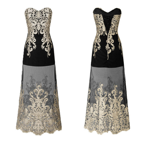 Strapless Lace-up Embroidery Tulle See Through Gold Retro Formal Dress Black