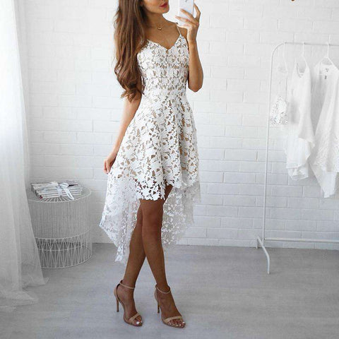 White Lace Hollow Out V-neck Spaghetti Strap High-Low Dress