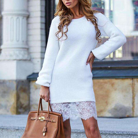 Mini Lace Stitching Solid Casual O Neck Long Sleeve Slim Party Dress White