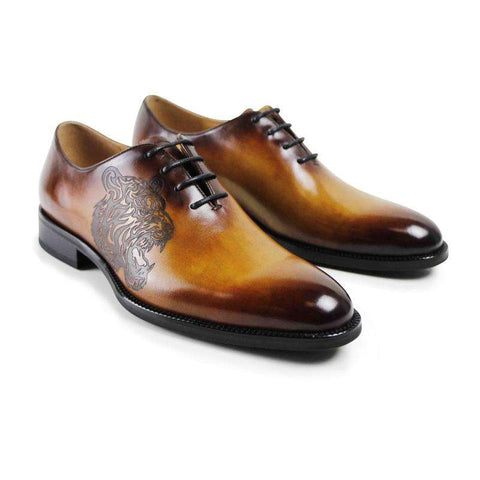 Men's Genuine Leather Lace Up Round toe Dress Shoes Brown