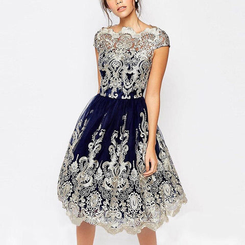 Tulle Party Lace Hollowed Cap Sleeve Rockabilly Swing Party Dress Blue