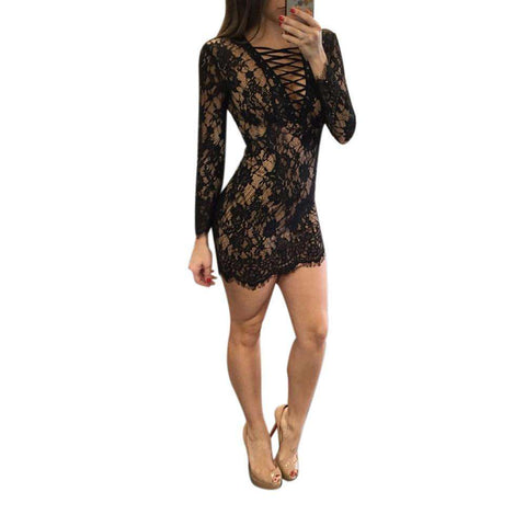 bde374932de Sexy V-Neck Chest Bandage Lace Long Sleeved Mini Dress White Black ...