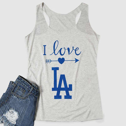 I Love LA Arrow Letters Printed Sleeveless O-Neck White Tank Top