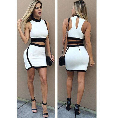 Pencil Set Two Piece Dress White