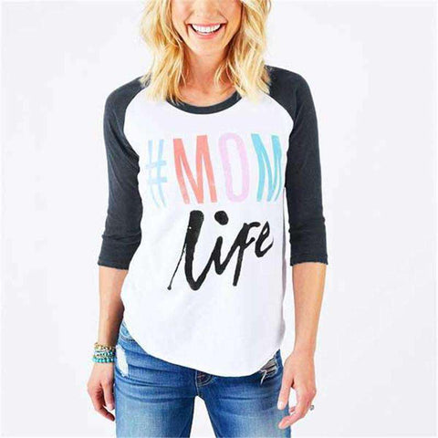#Mom Life Multicolor Letters Printed O-Neck Splicing White T-Shirt
