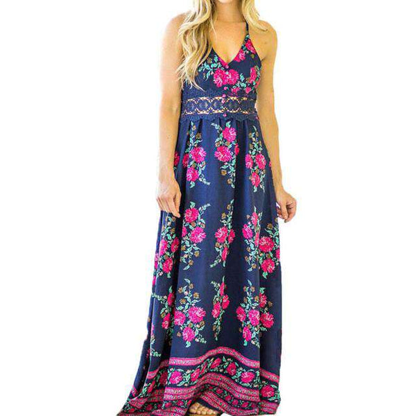 Floral Print V-Neck Sleeveless Strappy Casual Maxi Dress Purple
